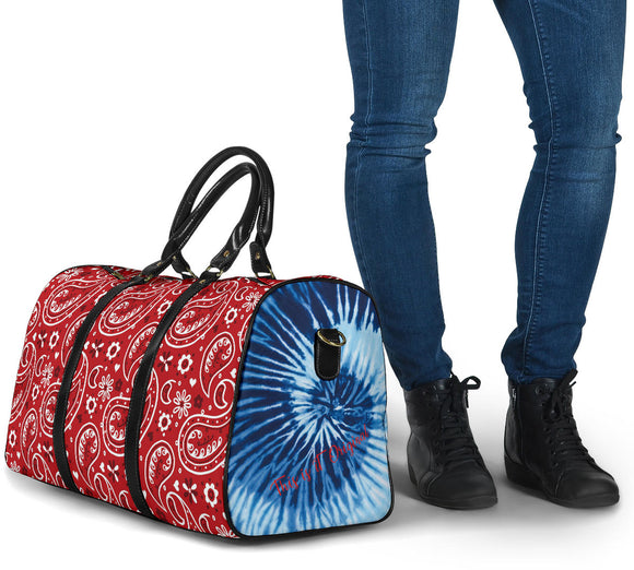 Luxury Blue Tie Dye X Red Paisley Design Travel Bag