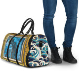 Luxury Japan Wave X Blue Marble Art in Gold Frame Design Travel Bag
