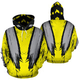 Racing Style Yellow & Silver Special Stripes Vibes All Over Hoodie