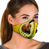 Real Avocado Design With Yellow Background Premium Protection Face Mask