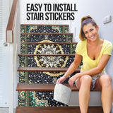 Luxury Persian Ornamental Design Three Stair Stickers (Set of 6)
