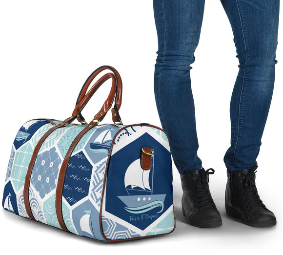 Special Gold & Blue Navy Hexagon Design - Sailing Boat - Travel Bag