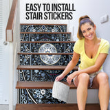 Luxury Persian Ornamental Design One Stair Stickers (Set of 6)