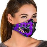 Tattoo Studio Design In Violet & Black Vibes Premium Protection Face Mask
