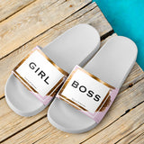 GIRL BOSS Design With Gold Stripes Slide Sandals