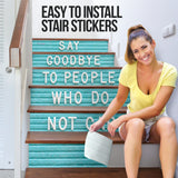 Light Blue Art Decoration - Stair Stickers (Set of 6) Say Goodbye To People Who Do Not Care