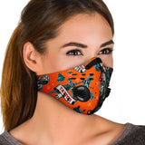 Tattoo Art Studio Design In Orange & Black Vibes Premium Protection Face Mask