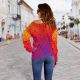 Colorful Orange Love Vibes Women's Off Shoulder Sweater