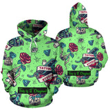 Light Green Design Tattoo Studio & Roses All Over Hoodie