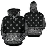 Black and White Bandana Style All Over Hoodie