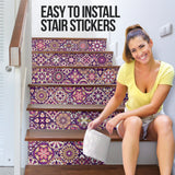 Luxurious Home Decor Colorful Mandala Mosaic Style Stair Stickers (Set of 6)