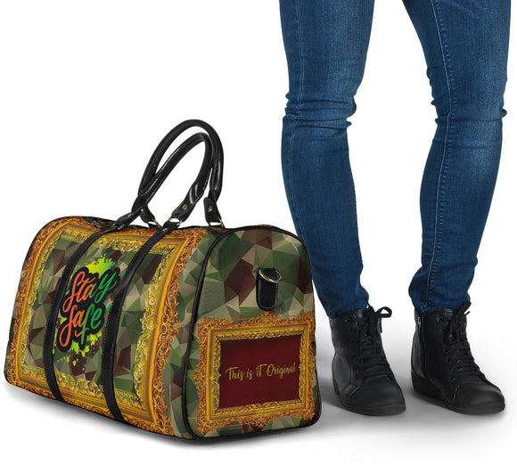 Special Army Design In Gold Frame Art - Stay Safe - Travel Bag