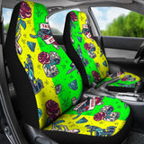 Neon Yellow & Neon Green Tattoo Studio Art Design Car Seat Covers