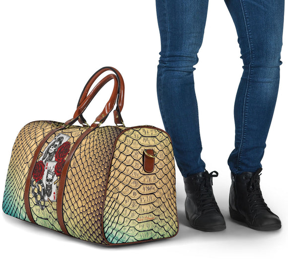 Luxury Metallic Snake Skin Design & King & Queen Gangster Love Card Style With Roses Travel Bag