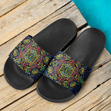 Glowing Rasta Mandala Slide Sandals