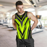Racing Style Neon Green & Black Men's Tank Top