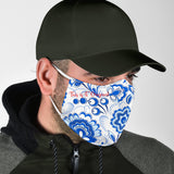 White & Blue Paisley Design Protection Face Mask