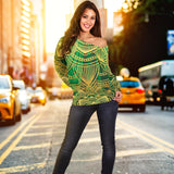 Glamour Green Mandala Women's Off Shoulder Sweater