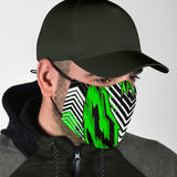 Racing Style Neon Green & Black Stripes Vibes Protection Face Mask