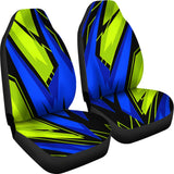 Racing Style Blue & Green Vibes Car Seat Covers