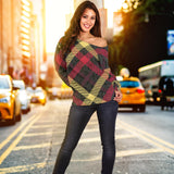 Exclusive Tartan Women's Off Shoulder Sweater
