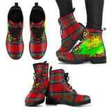 Silence is Luxurious. Classic Red Tartan Design With Neon Splash Leather Boots