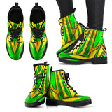 Racing Brazil Style Green & Yellow Unisex Leather Boots