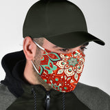 Luxury Mandala Red & Turquoise Design Protection Face Mask