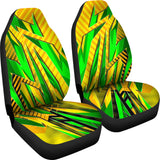Racing Brazil Style Yellow & Colorful Green Stripes Vibes Car Seat Covers