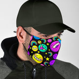 Funny Smile Emoticon Party Neon Color Design Protection Face Mask