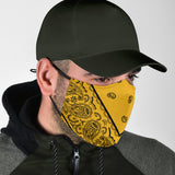 Yellow and Black Bandana Style Protection Face Mask