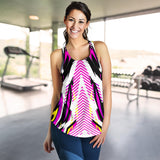 Racing Style Pink & White Vibe Women's Racerback Tank