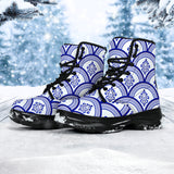 Traditional Blue & White Ornamental Vibes Design Two Chunky Boots