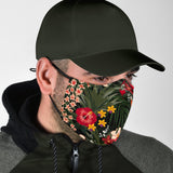 Black Floral Pattern Design Protection Face Mask