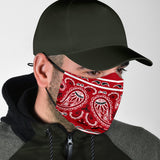 Royal Red Bandana Design With Paisley Style Protection Face Mask