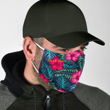 Tropical Pink Flowers & Green Leafs Design Protection Face Mask
