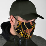 Luxurious Design Gold Chains & Belts Style Protection Face Mask