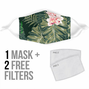Lovely Tropical Green Leaf & Pink Flower Protection Face Mask