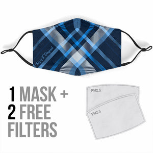 Tartan Design in Super Blue Colors Protection Face Mask