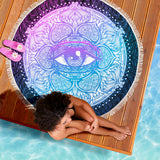 Lotus Purple Eye Beach Blankets