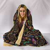 Boho Gold Tribal Dream Catcher Feathers Premium Hooded Blanket