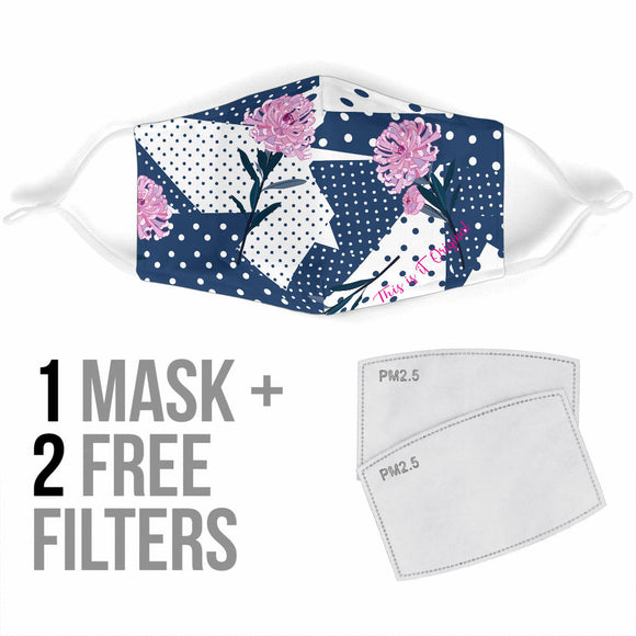 Dots Style With Pink Flowers Protection Face Mask