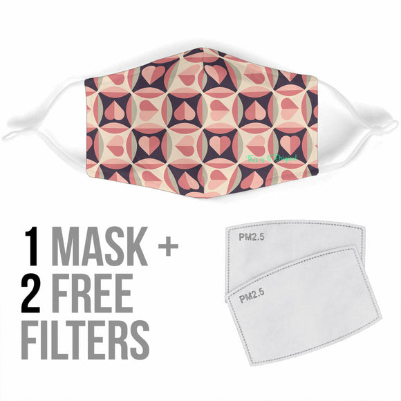 Geometric Design Retro Style Pink Heart Protection Face Mask