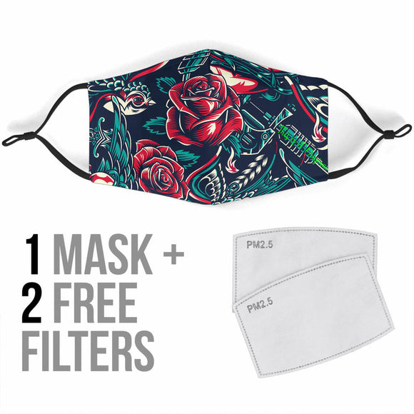 Tattoo With Roses Is Passion One Protection Face Mask