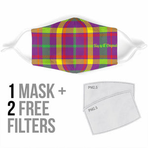 Street Style in Neon Colors Tartan Design One Protection Face Mask