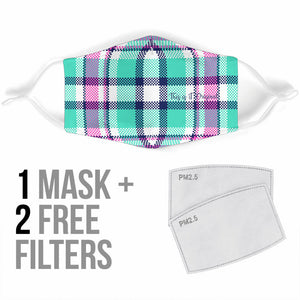 Street Style in Neon Colors Tartan Design Three Protection Face Mask