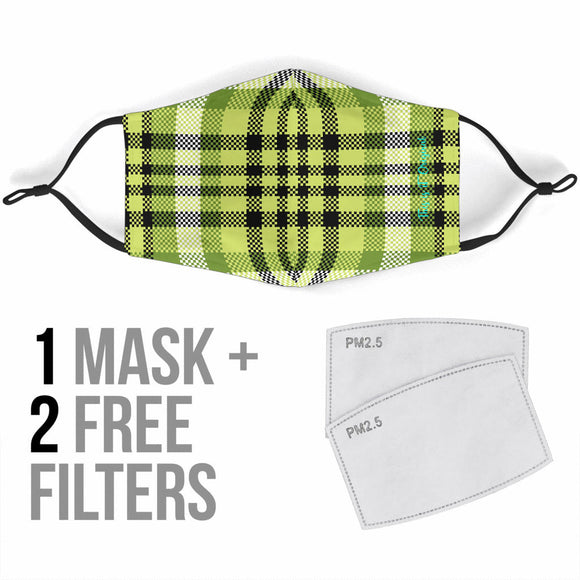Perfect Black & Neon Green Tartan Design Protection Face Mask