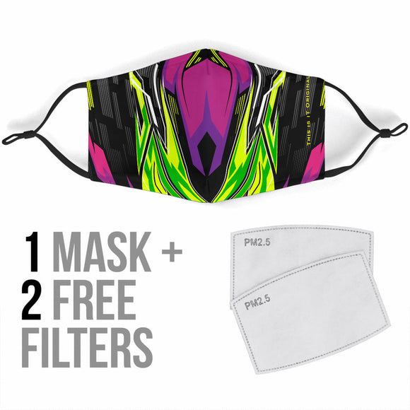 Racing Style Violet & Neon Green Design Protection Face Mask