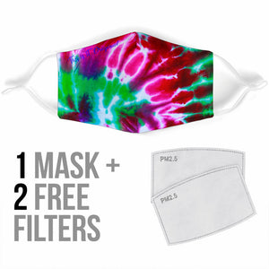 Lovely Pink & Neon Green Tie Dye Design One Protection Face Mask