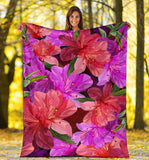 Beautiful Pink Flower Azalea Premium Blanket